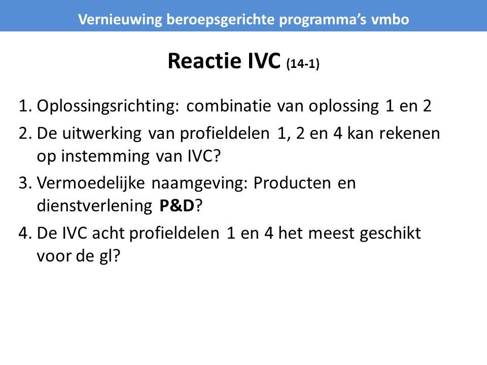 Reactie IVC (14-1) 1.Oplossingsrichting: combinatie van oplossing 1 en 2 2.De uitwerking van profieldelen 1, 2 en 4 kan rekenen op instemming van IVC?