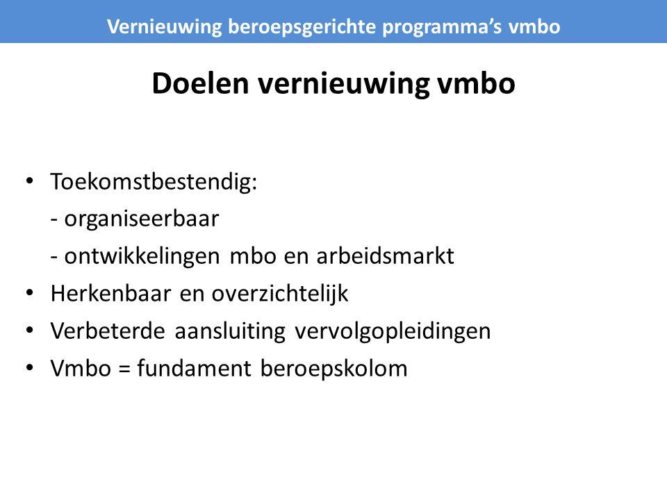 Doelen vernieuwing vmbo • Toekomstbestendig: - organiseerbaar - ontwikkelingen mbo en arbeidsmarkt • Herkenbaar en overzichtelijk • Verbeterde aanslui