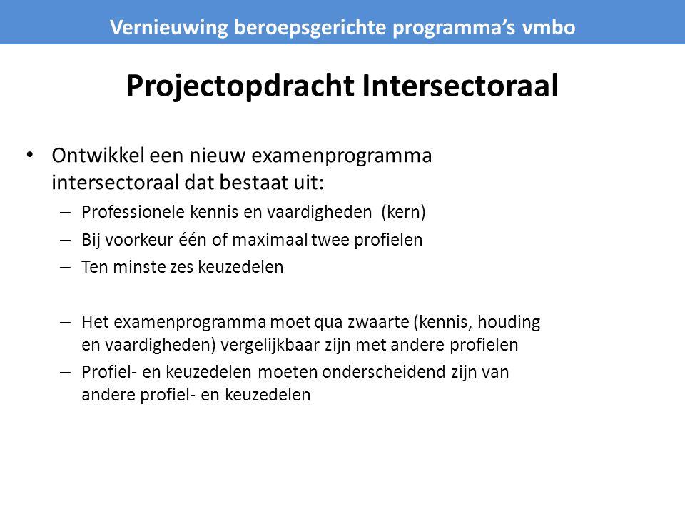 Projectopdracht Intersectoraal • Ontwikkel een nieuw examenprogramma intersectoraal dat bestaat uit: – Professionele kennis en vaardigheden (kern) – B