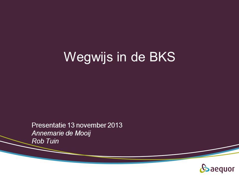Wegwijs in de BKS Presentatie 13 november 2013 Annemarie de Mooij Rob Tuin
