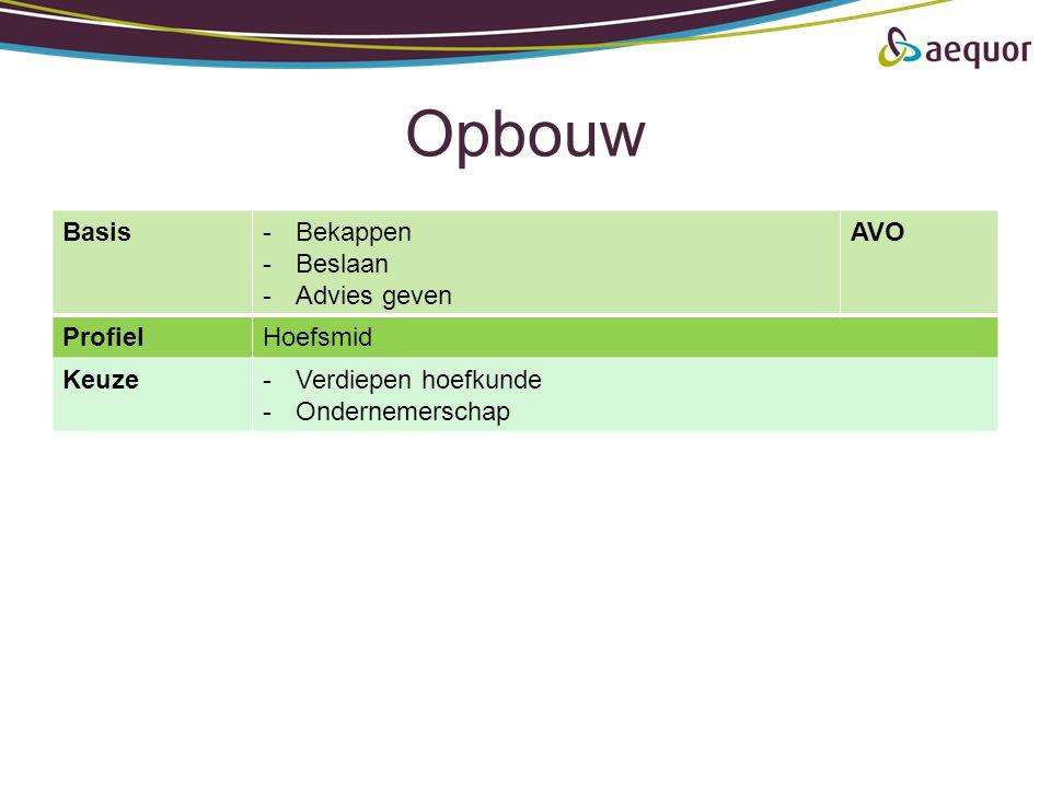 Opbouw Basis-Bekappen -Beslaan -Advies geven AVO ProfielHoefsmid Keuze-Verdiepen hoefkunde -Ondernemerschap