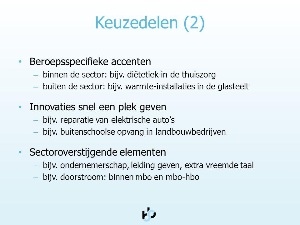 Keuzedelen (2) • Beroepsspecifieke accenten – binnen de sector: bijv. diëtetiek in de thuiszorg – buiten de sector: bijv. warmte-installaties in de gl