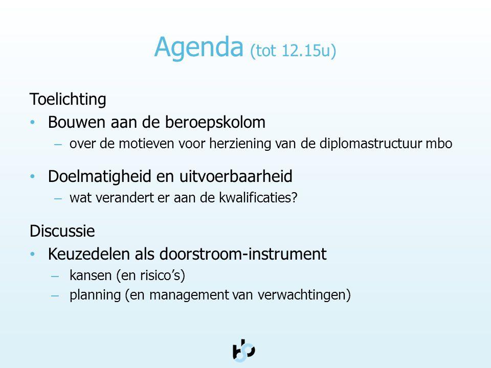 Agenda (tot 12.15u) Toelichting • Bouwen aan de beroepskolom – over de motieven voor herziening van de diplomastructuur mbo • Doelmatigheid en uitvoer