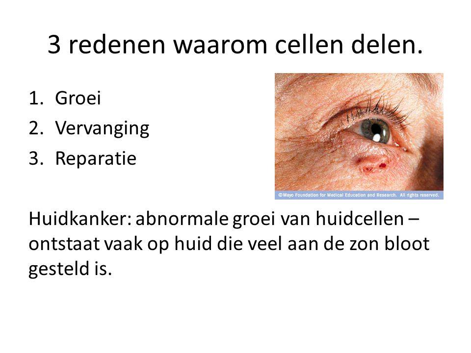 3 redenen waarom cellen delen. 1.Groei 2.Vervanging 3.Reparatie Huidkanker: abnormale groei van huidcellen – ontstaat vaak op huid die veel aan de zon