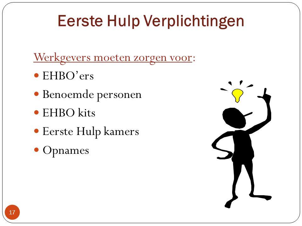 Eerste Hulp Voorzieningen 16 Is afhankelijk van:  Omvang van het personeelsbestand  Soort van werk  Een Eerste Hulp verantwoordelijke  EHBO doos  Eerste Hulp kamer(>400)