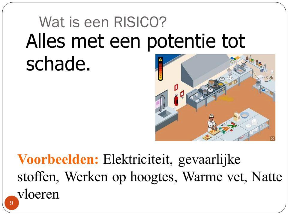 Wat is een RISICO.9 Alles met een potentie tot schade.