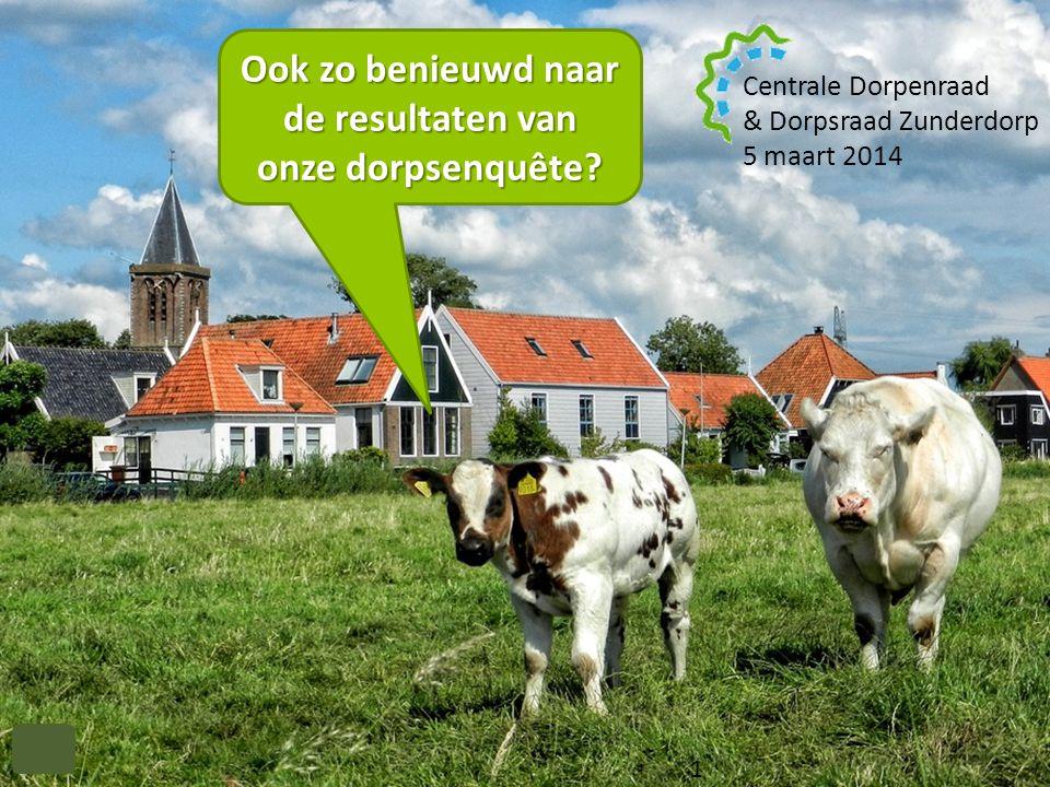 & Dorpsraad Zunderdorp 1 Centrale Dorpenraad & Dorpsraad Zunderdorp 5 maart 2014 Ook zo benieuwd naar de resultaten van onze dorpsenquête? 1