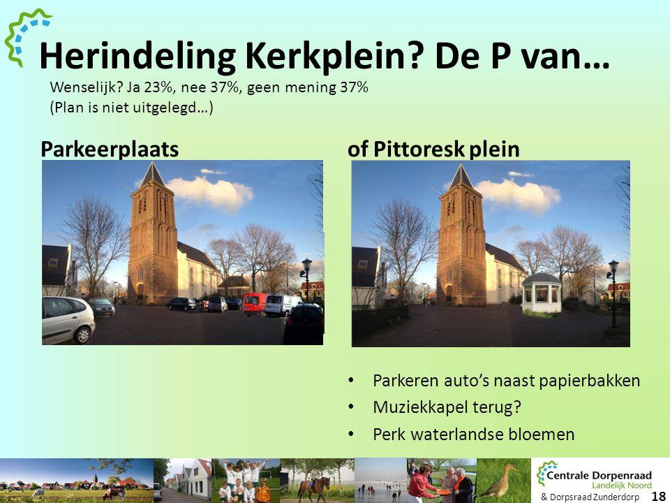 & Dorpsraad Zunderdorp 18 Herindeling Kerkplein? De P van… Parkeerplaatsof Pittoresk plein • Parkeren auto's naast papierbakken • Muziekkapel terug? •