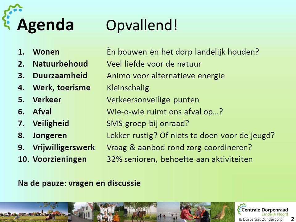 & Dorpsraad Zunderdorp 2 Agenda Opvallend! 1.WonenÈn bouwen èn het dorp landelijk houden? 2.NatuurbehoudVeel liefde voor de natuur 3.DuurzaamheidAnimo