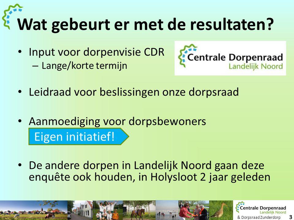 & Dorpsraad Zunderdorp 3 Wat gebeurt er met de resultaten? • Input voor dorpenvisie CDR – Lange/korte termijn • Leidraad voor beslissingen onze dorpsr