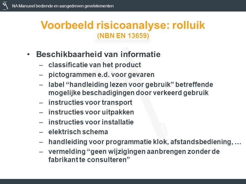NA Manueel bediende en aangedreven gevelelementen Voorbeeld risicoanalyse: rolluik (NBN EN 13659) •Beschikbaarheid van informatie –classificatie van het product –pictogrammen e.d.