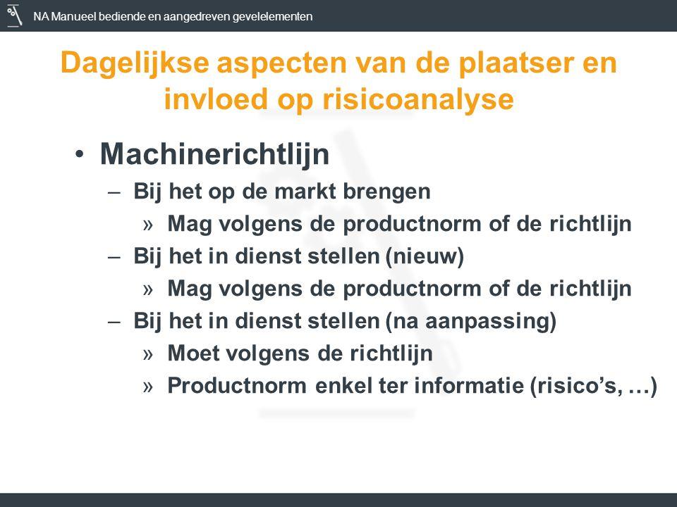 NA Manueel bediende en aangedreven gevelelementen Dagelijkse aspecten van de plaatser en invloed op risicoanalyse •Machinerichtlijn –Bij het op de markt brengen »Mag volgens de productnorm of de richtlijn –Bij het in dienst stellen (nieuw) »Mag volgens de productnorm of de richtlijn –Bij het in dienst stellen (na aanpassing) »Moet volgens de richtlijn »Productnorm enkel ter informatie (risico's, …)