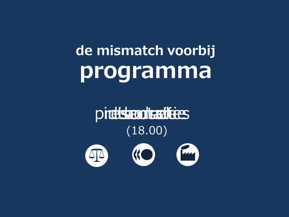 de mismatch voorbij programma introductie presentaties discussie borrel (18.00)