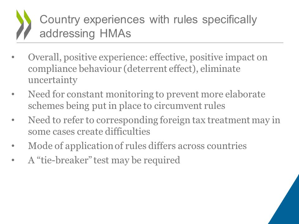 Country experiences with rules specifically addressing HMAs • Overall, positive experience: effective, positive impact on compliance behaviour (deterr