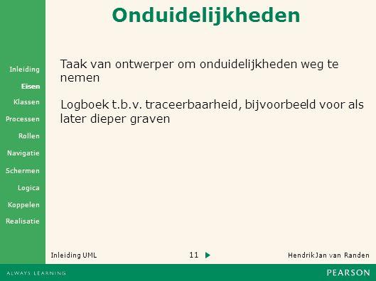 11 Hendrik Jan van Randen Inleiding UML Realisatie Klassen Processen Rollen Navigatie Schermen Logica Koppelen Eisen Inleiding Onduidelijkheden Taak van ontwerper om onduidelijkheden weg te nemen Logboek t.b.v.