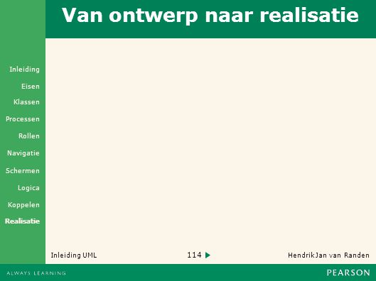 114 Hendrik Jan van Randen Inleiding UML Realisatie Klassen Processen Rollen Navigatie Schermen Logica Koppelen Eisen Inleiding Van ontwerp naar realisatie