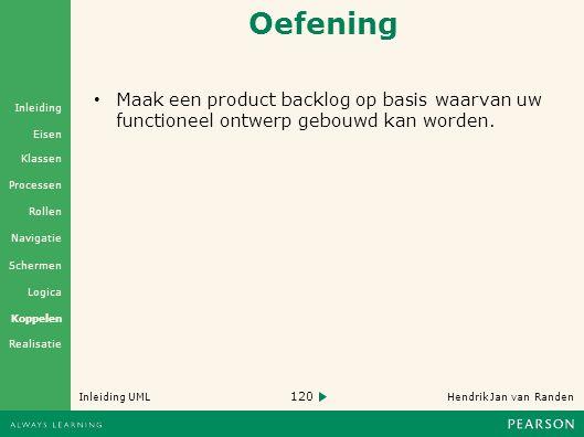 120 Hendrik Jan van Randen Inleiding UML Realisatie Klassen Processen Rollen Navigatie Schermen Logica Koppelen Eisen Inleiding Oefening • Maak een product backlog op basis waarvan uw functioneel ontwerp gebouwd kan worden.