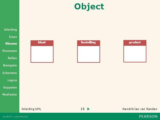 16 Hendrik Jan van Randen Inleiding UML Realisatie Klassen Processen Rollen Navigatie Schermen Logica Koppelen Eisen Inleiding Object klantbestelling product