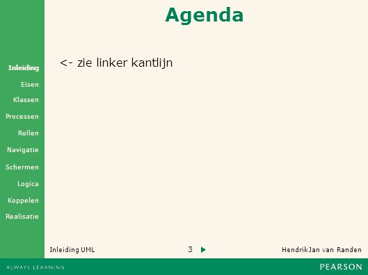 3 Hendrik Jan van Randen Inleiding UML Realisatie Klassen Processen Rollen Navigatie Schermen Logica Koppelen Eisen Inleiding Agenda <- zie linker kantlijn