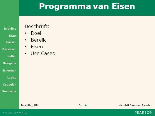 5 Hendrik Jan van Randen Inleiding UML Realisatie Klassen Processen Rollen Navigatie Schermen Logica Koppelen Eisen Inleiding Programma van Eisen Beschrijft: • Doel • Bereik • Eisen • Use Cases