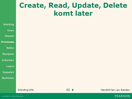 62 Hendrik Jan van Randen Inleiding UML Realisatie Klassen Processen Rollen Navigatie Schermen Logica Koppelen Eisen Inleiding Create, Read, Update, Delete komt later