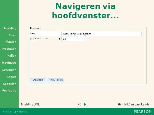 76 Hendrik Jan van Randen Inleiding UML Realisatie Klassen Processen Rollen Navigatie Schermen Logica Koppelen Eisen Inleiding Navigeren via hoofdvenster...