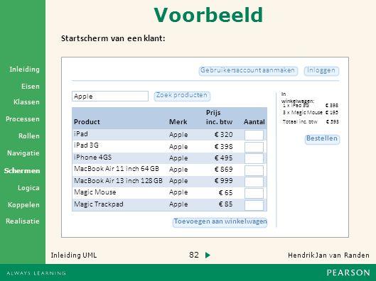82 Hendrik Jan van Randen Inleiding UML Realisatie Klassen Processen Rollen Navigatie Schermen Logica Koppelen Eisen Inleiding Voorbeeld In winkelwagen: InloggenGebruikersaccount aanmaken 1 x iPad 3G 3 x Magic Mouse Totaal inc.