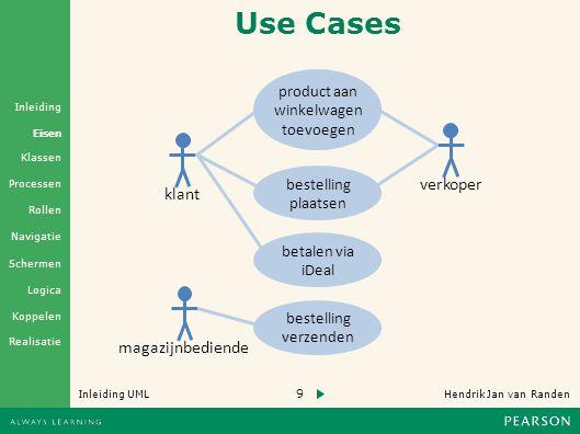 9 Hendrik Jan van Randen Inleiding UML Realisatie Klassen Processen Rollen Navigatie Schermen Logica Koppelen Eisen Inleiding klant magazijnbediende verkoper product aan winkelwagen toevoegen bestelling plaatsen bestelling verzenden Use Cases betalen via iDeal