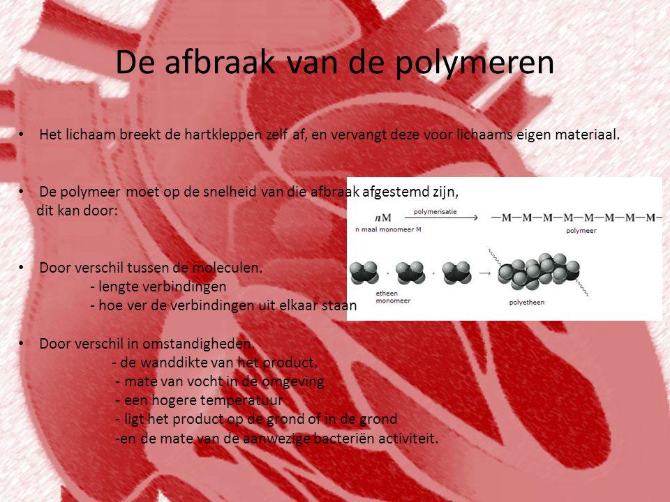 De polymeren • Veel biologisch afbreekbare polymeren zijn gemaakt van zetmeel, glucose en andere plantaardige stoffen.