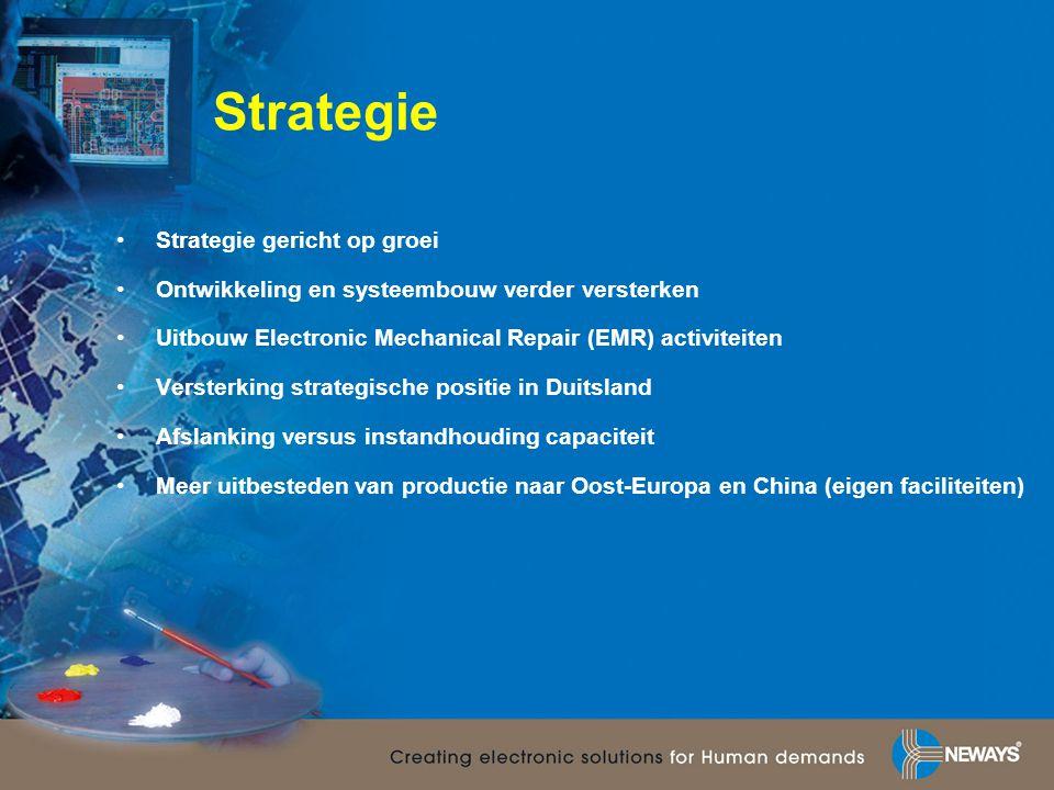 Strategie •Strategie gericht op groei •Ontwikkeling en systeembouw verder versterken •Uitbouw Electronic Mechanical Repair (EMR) activiteiten •Verster