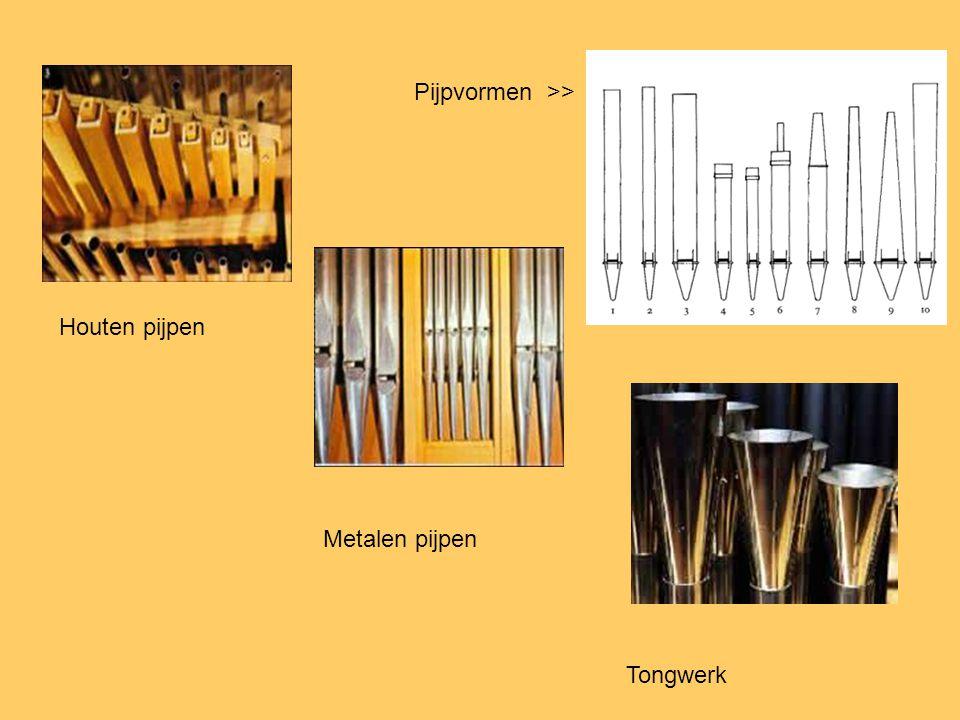 Houten pijpen Metalen pijpen Tongwerk Pijpvormen >>