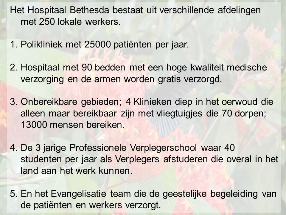 Het Hospitaal Bethesda bestaat uit verschillende afdelingen met 250 lokale werkers.