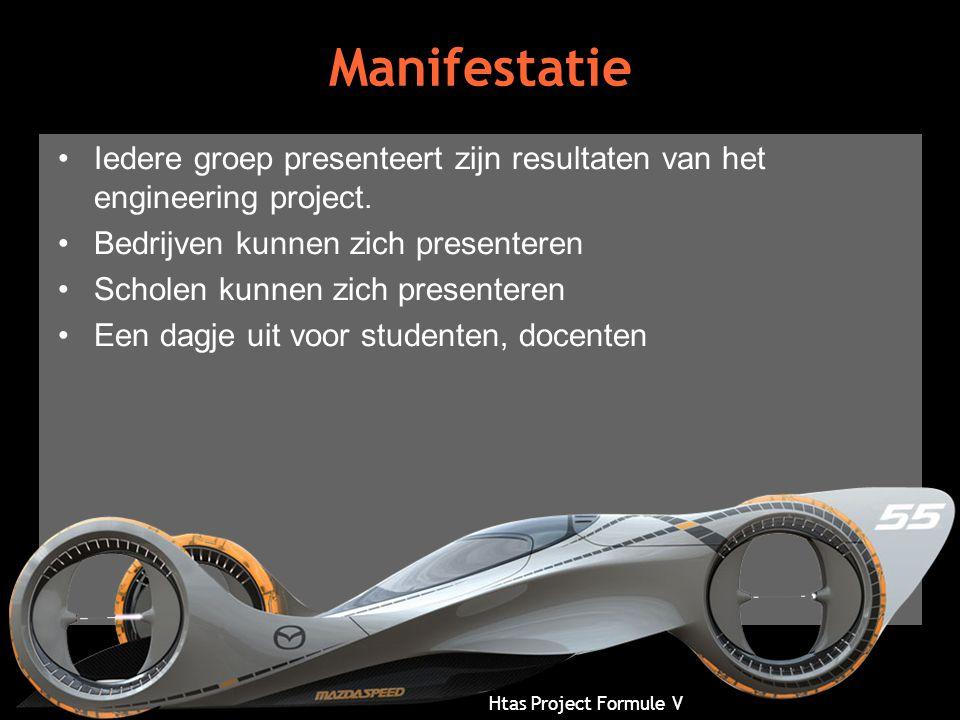 Htas Project Formule V Manifestatie •Iedere groep presenteert zijn resultaten van het engineering project. •Bedrijven kunnen zich presenteren •Scholen