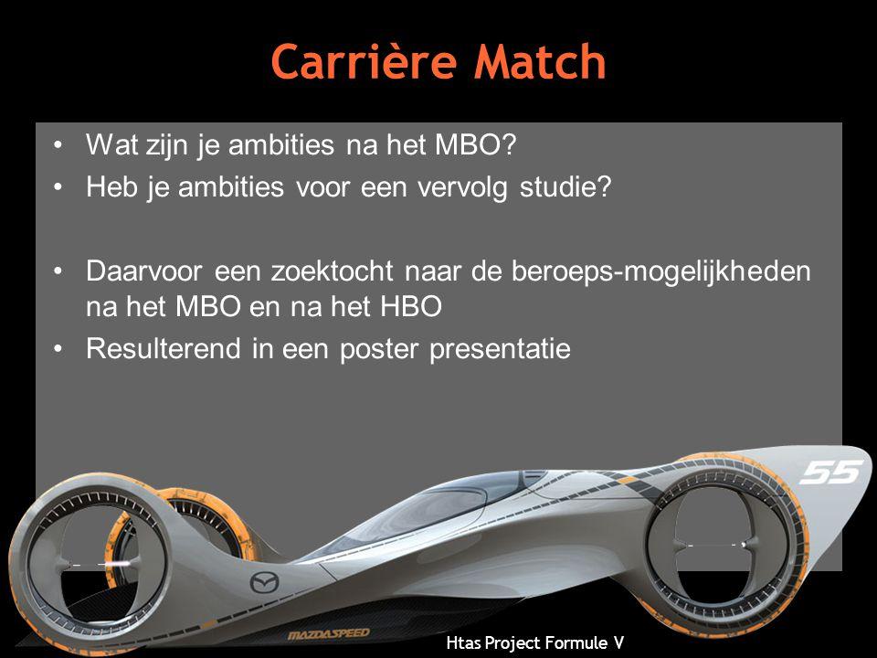 Htas Project Formule V Carrière Match •Wat zijn je ambities na het MBO? •Heb je ambities voor een vervolg studie? •Daarvoor een zoektocht naar de bero