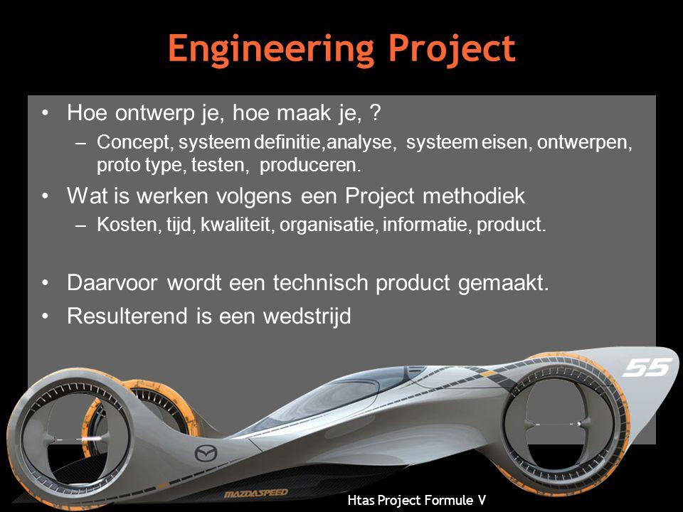 Htas Project Formule V Engineering Project •Hoe ontwerp je, hoe maak je, ? –Concept, systeem definitie,analyse, systeem eisen, ontwerpen, proto type,