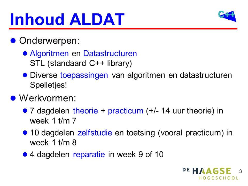 3 Inhoud ALDAT  Onderwerpen:  Algoritmen en Datastructuren STL (standaard C++ library)  Diverse toepassingen van algoritmen en datastructuren Spell