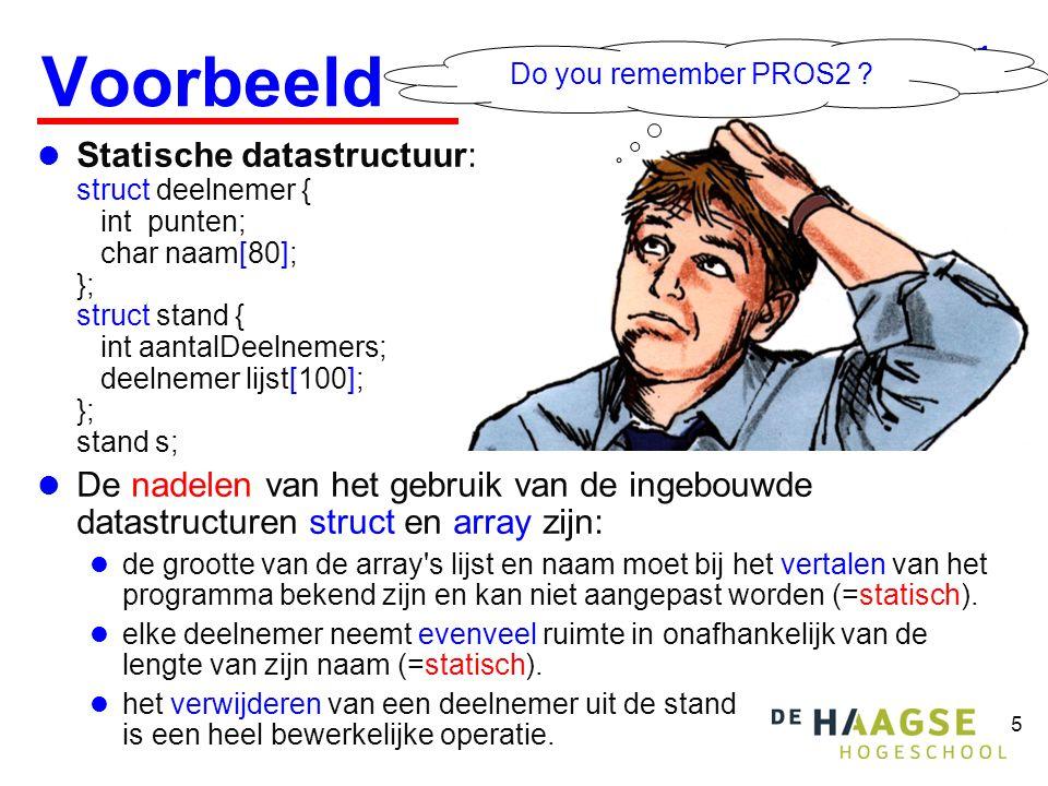 5 Voorbeeld  Statische datastructuur: struct deelnemer { int punten; char naam[80]; }; struct stand { int aantalDeelnemers; deelnemer lijst[100]; };