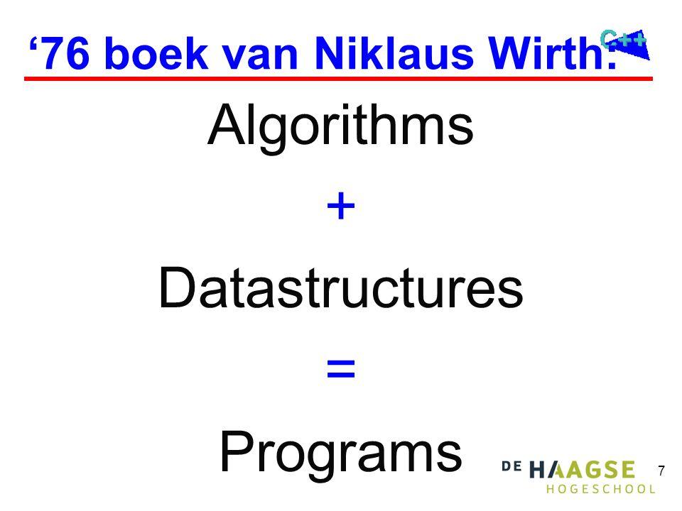 8 Klassieke datastructuren  Klassieke datastructuren kunnen m.b.v.
