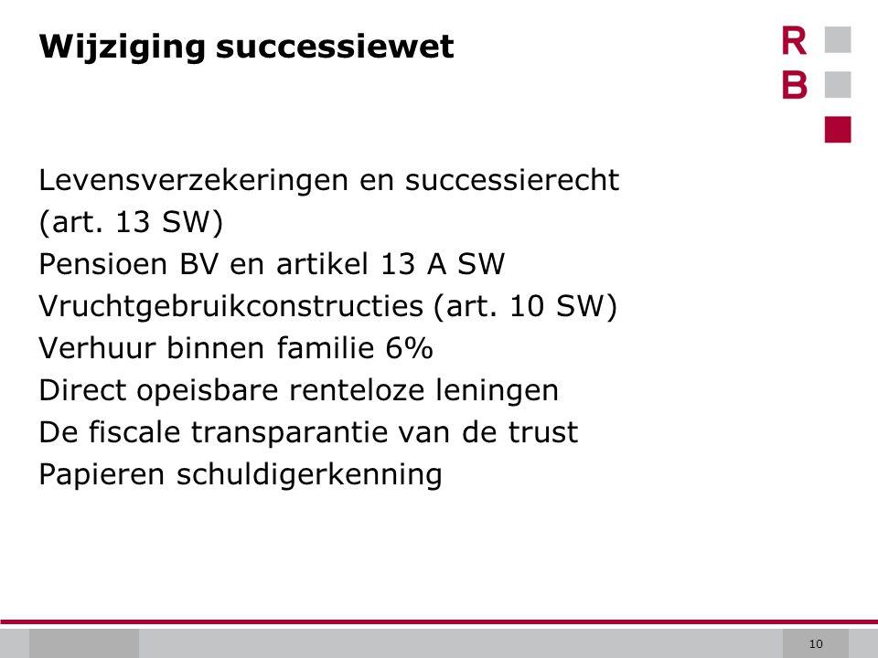 10 Wijziging successiewet Levensverzekeringen en successierecht (art.