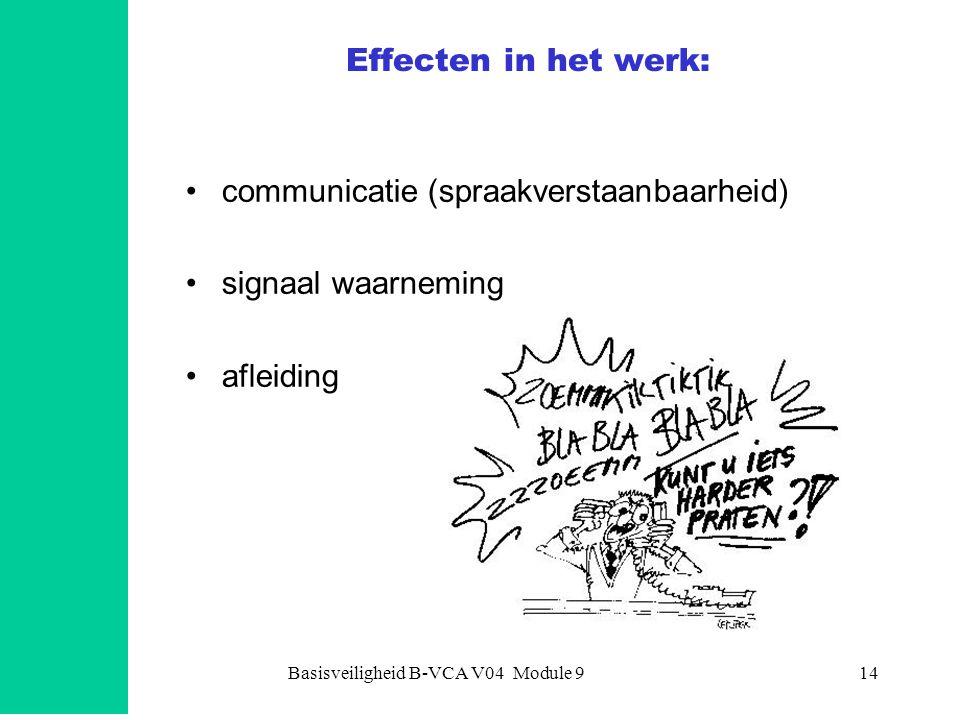 Basisveiligheid B-VCA V04 Module 914 Effecten in het werk: •communicatie (spraakverstaanbaarheid) •signaal waarneming •afleiding