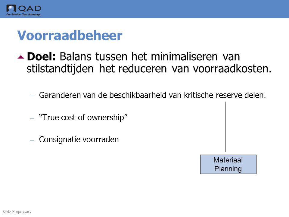  Doel: Balans tussen het minimaliseren van stilstandtijden het reduceren van voorraadkosten.