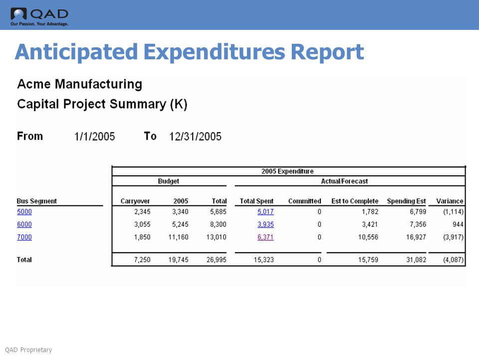 QAD Proprietary Anticipated Expenditures Report