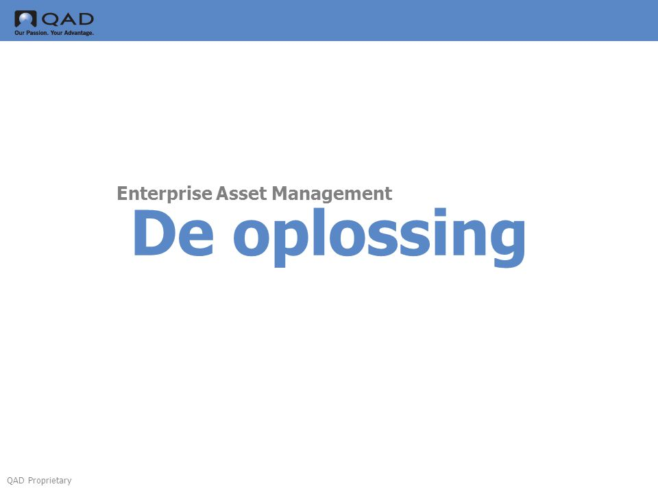 QAD Proprietary De oplossing Enterprise Asset Management