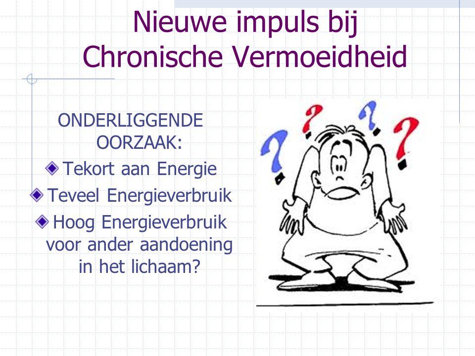 Nieuwe impuls bij Chronische Vermoeidheid ONDERLIGGENDE OORZAAK: Tekort aan Energie Teveel Energieverbruik Hoog Energieverbruik voor ander aandoening