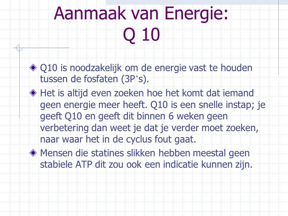 Aanmaak van Energie: Q 10 Q10 is noodzakelijk om de energie vast te houden tussen de fosfaten (3P ' s). Het is altijd even zoeken hoe het komt dat iem