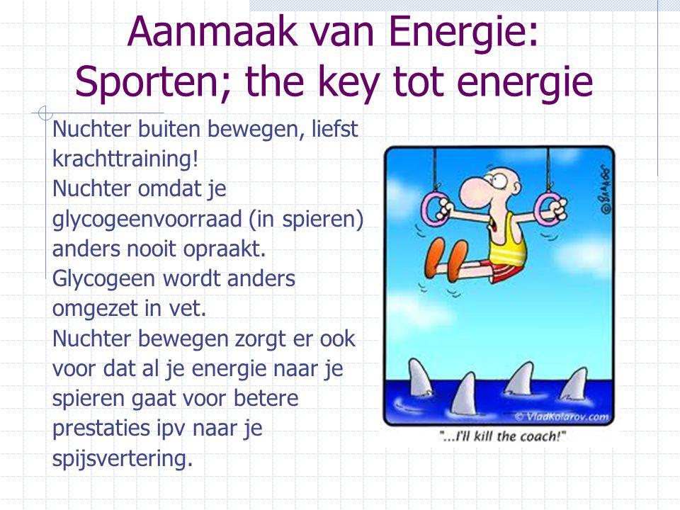 Aanmaak van Energie: Sporten; the key tot energie Nuchter buiten bewegen, liefst krachttraining! Nuchter omdat je glycogeenvoorraad (in spieren) ander
