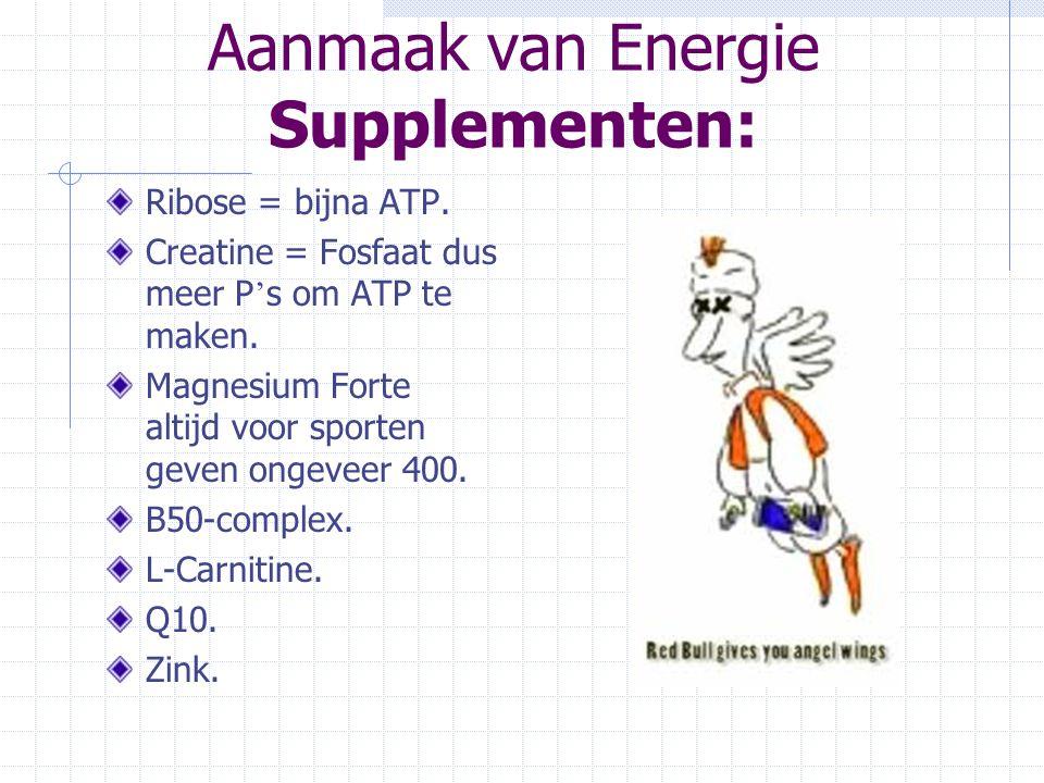 Aanmaak van Energie Supplementen: Ribose = bijna ATP. Creatine = Fosfaat dus meer P ' s om ATP te maken. Magnesium Forte altijd voor sporten geven ong