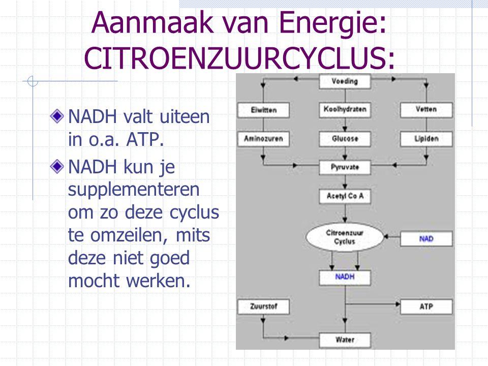 Aanmaak van Energie: CITROENZUURCYCLUS: NADH valt uiteen in o.a. ATP. NADH kun je supplementeren om zo deze cyclus te omzeilen, mits deze niet goed mo