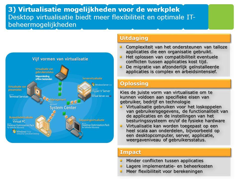 3) Virtualisatie mogelijkheden voor de werkplek Desktop virtualisatie biedt meer flexibiliteit en optimale IT- beheermogelijkheden
