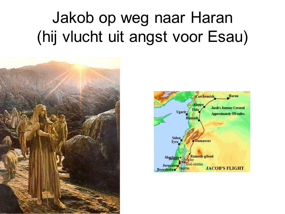 Jakob op weg naar Haran (hij vlucht uit angst voor Esau)